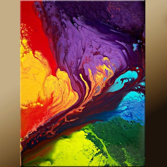 11x14 Abstract Fine Art Print - Contemporary Modern  Art  by Destiny Womack - Beyond the Rainbow  - dWo