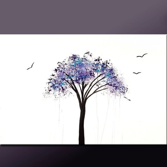 Abstract LandscapeTree Art Painting 36x24  Original Modern Contemporary Art on Canvas by Destiny Womack - dWo - Aftter the Rain - ON SALE