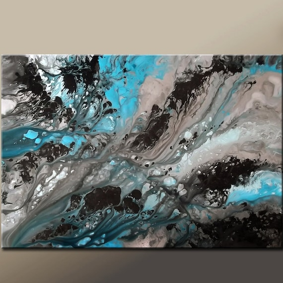 Abstract Canvas Art Painting 36x24 Original Modern Contemporary Art Blue Black & Grey by Destiny Womack  - dWo - Moon Song