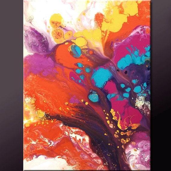 Original Abstract Painting 18x24 Contemporary Modern Fine Art by Destiny Womack - dWo -  JOY