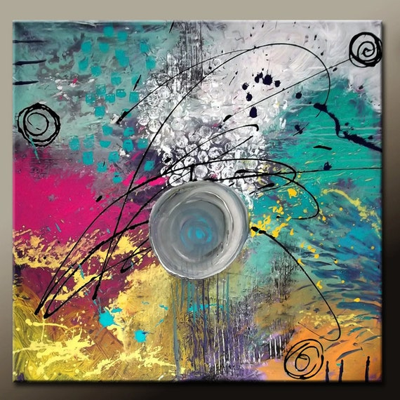 Abstract Canvas Art Painting - Original 36x36 Contemporary Textured Palette Knife Art by Destiny Womack - Ready to Ship - dWo - The Balance