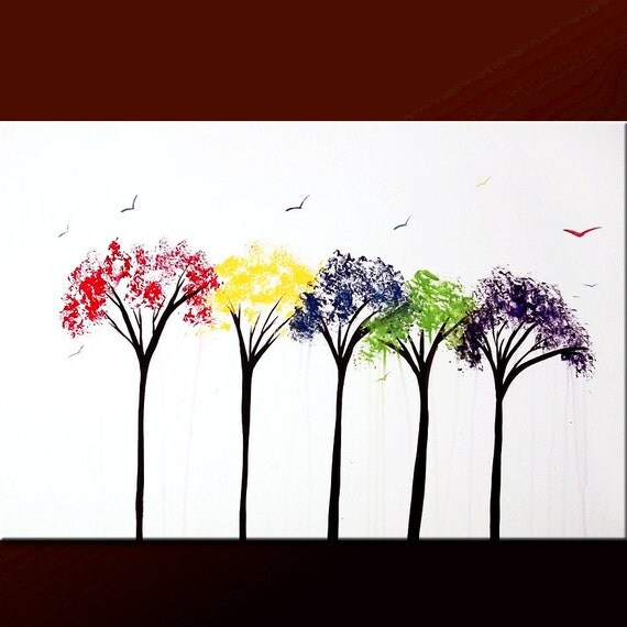 Abstract Landscape Tree Art Painting 36x24 Original Modern Contemporary Art on Canvas by Destiny Womack - dWo - Changes II ON SALE