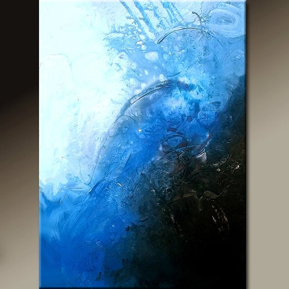 Blue Abstract Canvas Art Painting 22x28  Original Modern Contemporary Art by Destiny Womack - dWo - Trialls XX