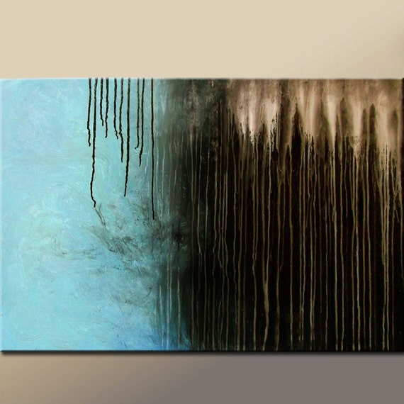 """Modern Abstract Paintings - 36"""" Original Contemporary Art on Stretched Canvas by Destiny Womack -  dWo - SHADOWS On Sale"""