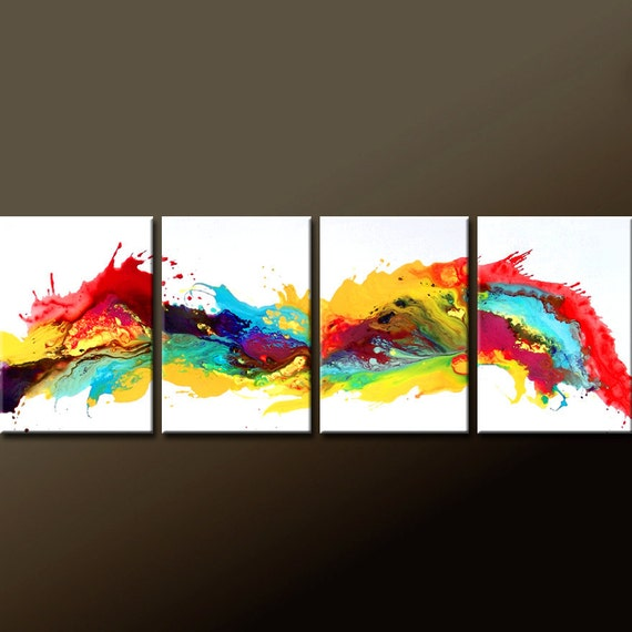 4pc Abstract Canvas Art Painting - MADE TO ORDER Contemporary Original Modern Art by Destiny Womack - dWo -