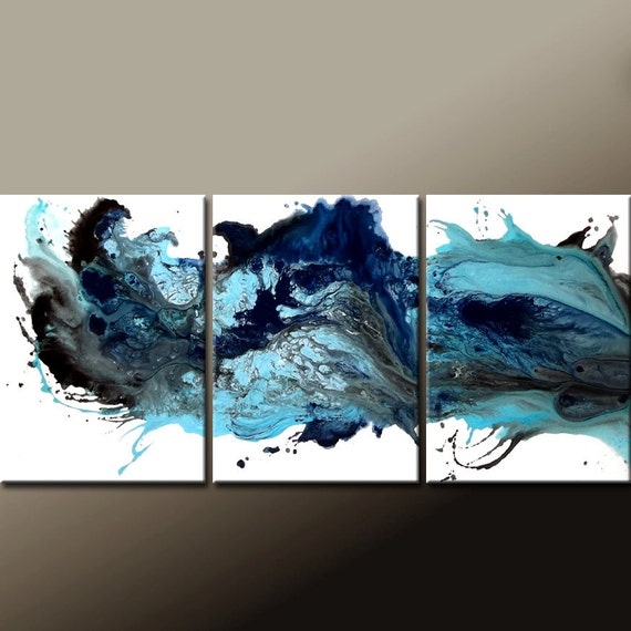 "3pc Abstract Canvas Art Painting - 54""Contemporary Original Modern Art by Destiny Womack - dWo -  When the Tears Fall"