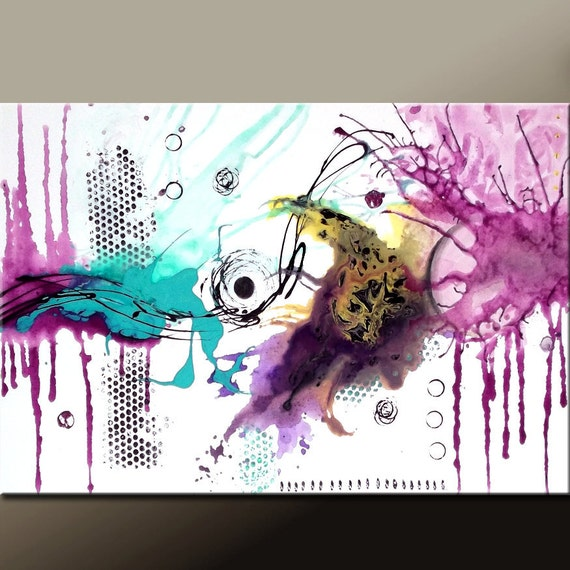 Abstract Canvas Art Painting 36x24 Original Contemporary Paintings by Destiny Womack - dWo - Lost in the Moment