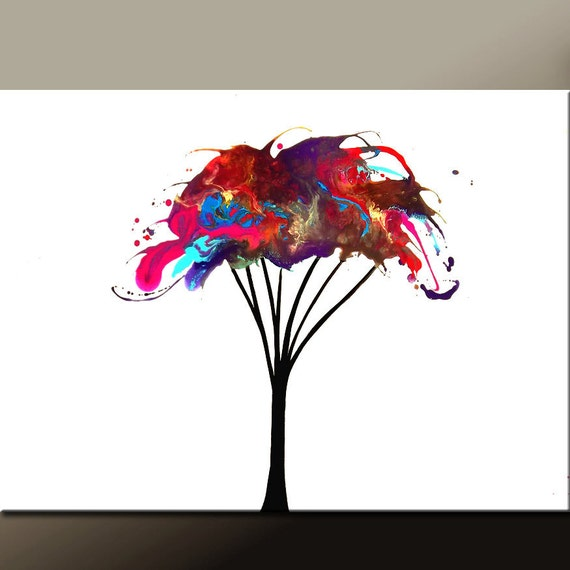 Abstract Landscape Art Painting 36x24 Original Modern Contemporary Tree Art on Canvas by Destiny Womack - dWo - Renewed ON SALE