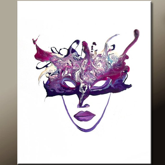 Abstract Art Canvas Art 18x24 Original Purple Mardi Gras Mask Contemporary Art by Destiny Womack - dWo - Masquerade