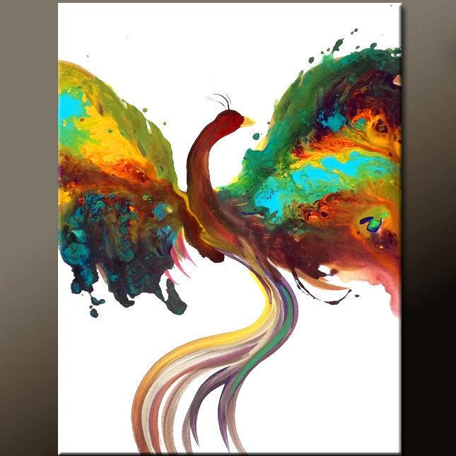 Abstract Phoenix Bird Painting Original Contemporary Art on