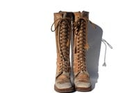sz 6 tan leather lace up campus all boots