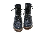 Justin Navy Blue Leather Ankle Boots size 5.5