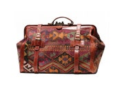 Multi Color His or Hers Kilim & Leather Travel Bag