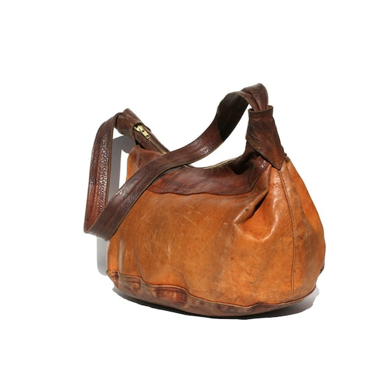 vintage large two tone brown leather bag