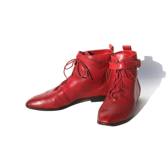 RESERVED  size 6.5 red leather strap ankle boots