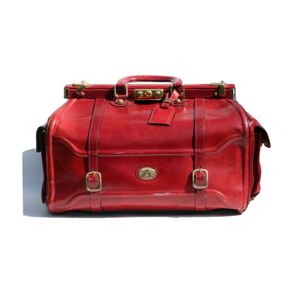 Italian leather candy apple red weekend travel bag