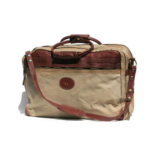 vintage canvas & leather weekend travel bag