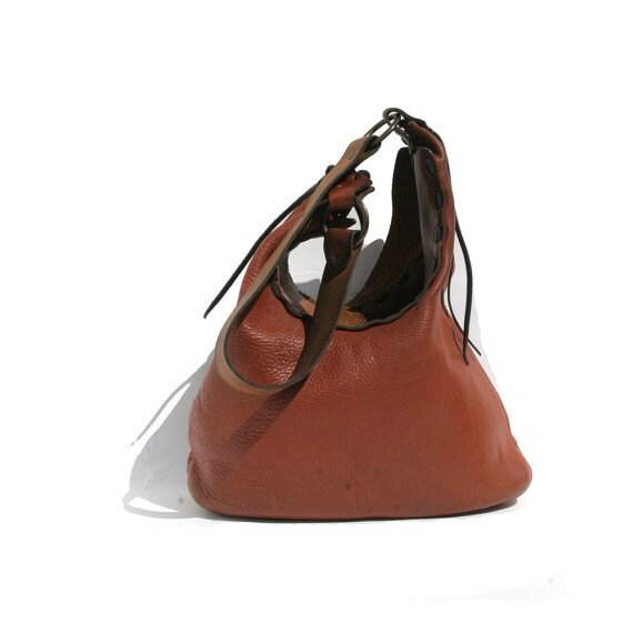 vintage two tone brown leather shoulder bag