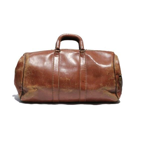 Vintage Brown Leather weekend Travel Bag