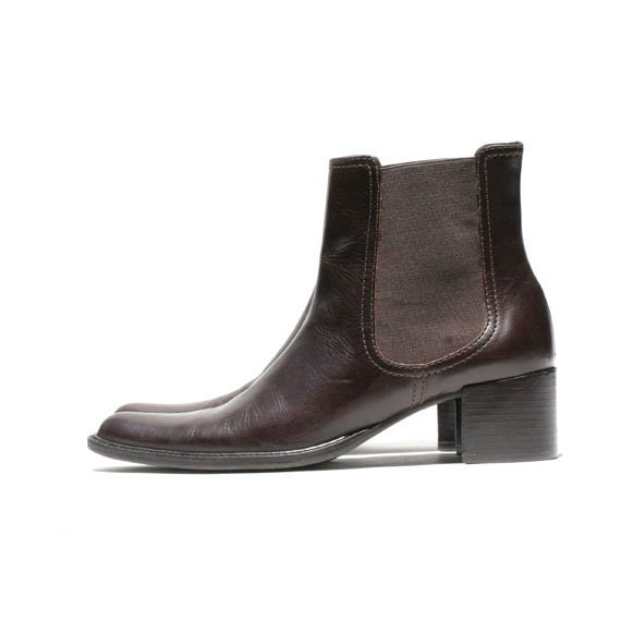Size 7 Dark Brown Leather Chelsea Ankle Boots