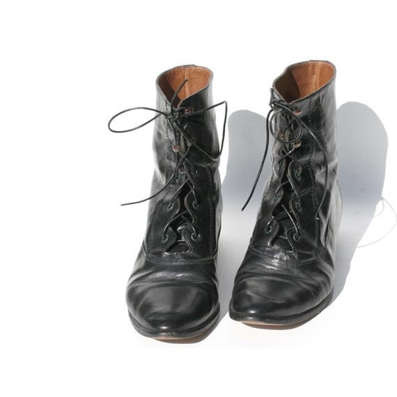 Size 6.5 Italian Black Leather Ankle Boots