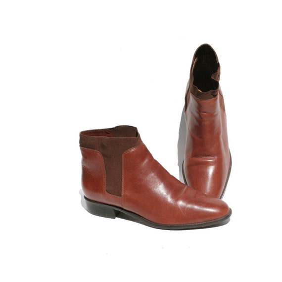 Size 7.5 Brown Leather Chelsea Ankle Boots