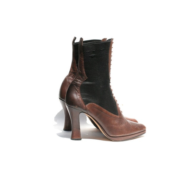 brown leather chelsea mid calf boots size 8 5