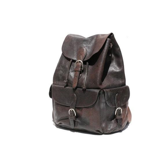 Dark Brown Leather Backpack Bag