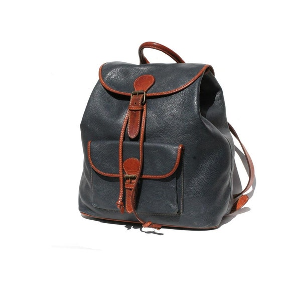 Navy Blue & Brown Leather Backpack