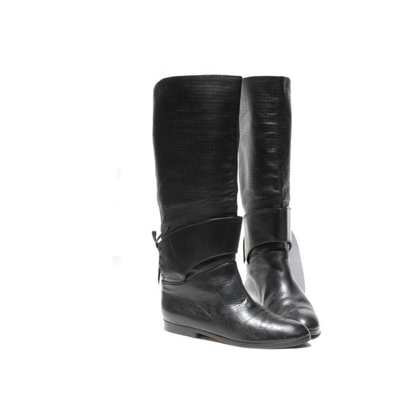 Black Italian Leather riding Boots size 6.5