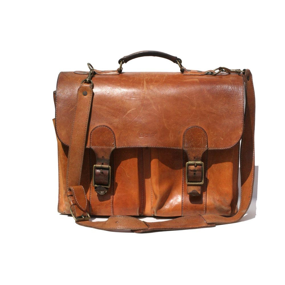 Vintage bree tan leather his or hers briefcase for Vintage sites like etsy