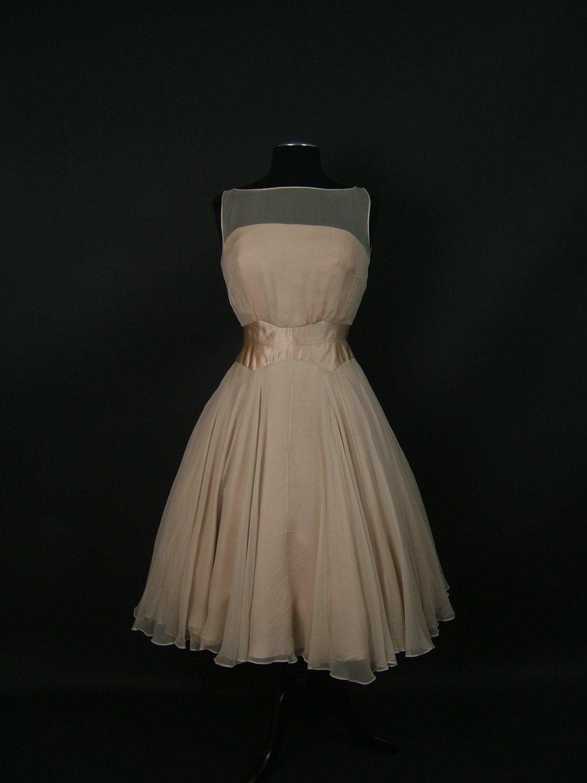 vintage chiffon dress 1960