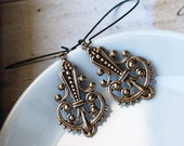 Ornate  Drop Brass Earrings