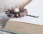 Pale Taupe and cream flower brass Hair Pin