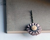 Pale Taupe and Almond - (small) Flower brass Hair Pin
