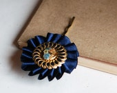 Blue and Gold - vintage Floral hair pin