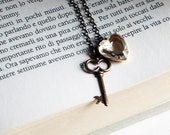 the key to the heart necklace - crystal clear heart charm with Brass Skeleton Key