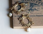 beyond the mirror earrings - with brass Frame and Vintage White Glass Drop