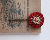 Red and Tan (small) Flower brass Hair Pin