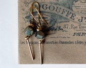 Stunning Pyrite Earrings with a Vintage Stick Charm