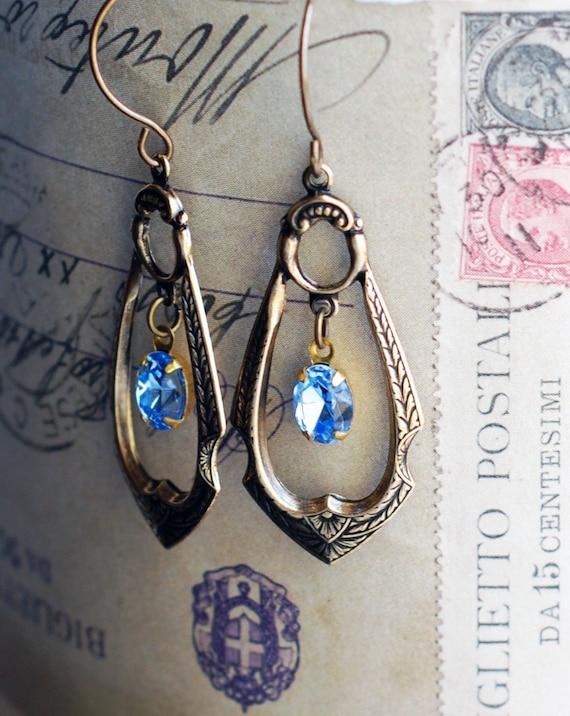 Art Deco Drop - Crystal Aquamarine Earrings