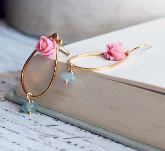 Prehnite Gold Teardrop earrings with a  pink rose flower