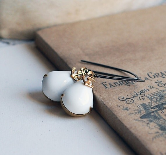 Tiny Anchor White Earrings with sterling silver