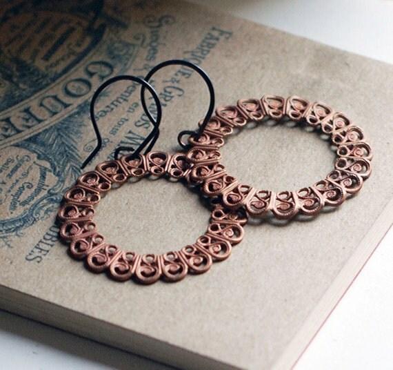 Vintage textured Circle Earrings