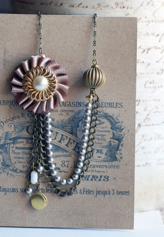 Madeleine Necklace - Taupe ribbon with cascades of chains and pearls