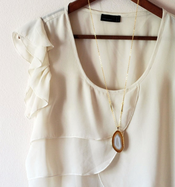 White Caramel Agate on gold necklace