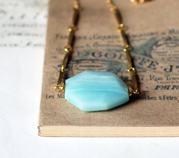 Amazonite Faceted  Stone on gold necklace