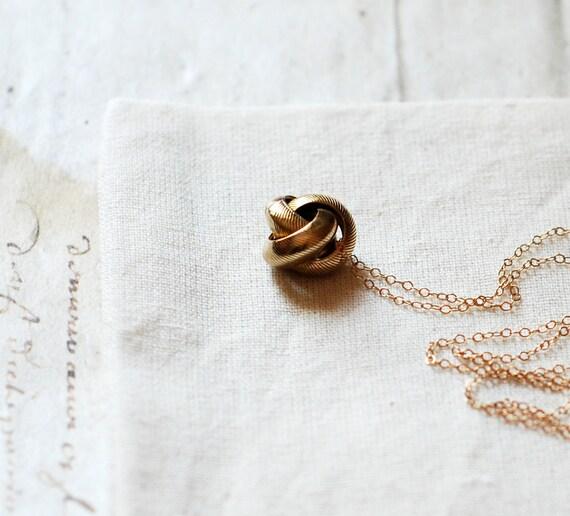 Vintage brass Knot necklace