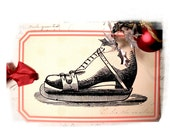 Retro Christmas Tags Ice Skate Snowman Toy Department