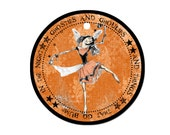 Halloween Tag ,Dancing Ghoul Girl, Ghoulie Round Gift Bag Tag for Goody Bags Black and Orange